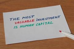 Nota do negócio sobre o capital humano de ativo o mais valioso com p Imagens de Stock Royalty Free