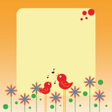 Nota dos pássaros e das flores Fotografia de Stock Royalty Free