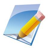 Nota e ícone do lápis Imagens de Stock Royalty Free