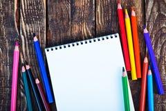 Nota e lápis Foto de Stock