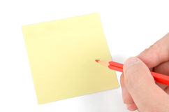 Nota e lápis de post-it Imagens de Stock Royalty Free