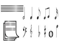 Nota e linhas sistema ilustração stock