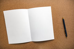 Nota e penna del Libro Bianco sullo scrittorio di legno di affari con lo spazio della copia Fotografia Stock