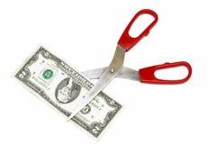 Nota e tesouras de dois dólares Fotos de Stock