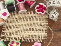 Nota en blanco de la materia textil Fotografía de archivo
