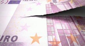Nota euro de rasgado Imágenes de archivo libres de regalías
