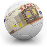 Nota euro impresa en un fútbol Fotografía de archivo