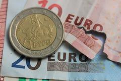 Nota euro rasgada Imágenes de archivo libres de regalías