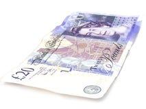 Nota gasta de 20 libras Imagem de Stock