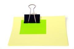 Nota gialla e verde Immagini Stock Libere da Diritti