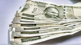 Nota indiana de Rs da moeda 500 foto de stock