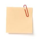 Nota met een paperclip Stock Afbeelding