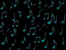 Nota musical azul sobre el papel pintado negro de la pantalla Fotos de archivo libres de regalías