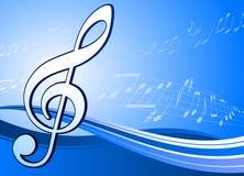 Nota musical sobre fondo azul abstracto Foto de archivo libre de regalías