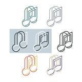 Nota musical y auriculares Fotografía de archivo