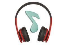 Nota musical y auriculares aislados en el fondo blanco ilustraci?n 3D libre illustration