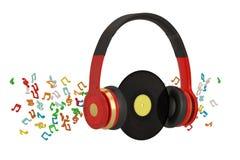Nota musical y auriculares aislados en el fondo blanco ilustraci?n 3D stock de ilustración