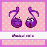 Nota musicale, caratteri divertenti su un rosa Fotografia Stock Libera da Diritti