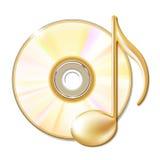Nota musicale dell'oro e disco del CD Fotografia Stock