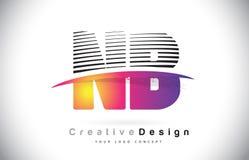 NOTA: N.B. Letter Logo Design With Creative Lines et Swosh dans Purpl Photos stock