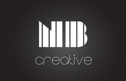 NOTA: N.B. Letter Logo Design With White et lignes noires Image stock