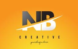 NOTA: N.B. Letter Modern Logo Design avec le fond jaune et le Swoo illustration libre de droits