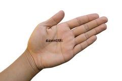 Nota over Hand Stock Fotografie