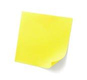 Nota pegajosa amarela Imagens de Stock