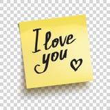 Nota pegajosa amarela com ` do texto eu te amo! ` Vetor Imagem de Stock Royalty Free