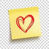 Nota pegajosa amarela com mão vermelha coração tirado Vetor Fotografia de Stock