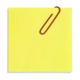 Nota pegajosa amarela isolada Imagens de Stock Royalty Free