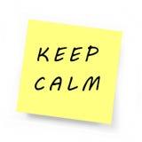 Nota pegajosa amarela - mantenha a calma Imagem de Stock