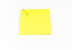 Nota pegajosa amarilla Imágenes de archivo libres de regalías