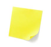 Nota pegajosa amarilla Imagenes de archivo