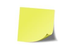 Nota pegajosa amarilla Foto de archivo