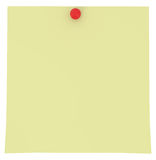 Nota pegajosa amarilla aislada en blanco Imagen de archivo