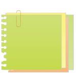 Nota pegajosa del vector con el clip de papel Fotografía de archivo