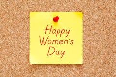 Nota pegajosa do dia das mulheres felizes Foto de Stock