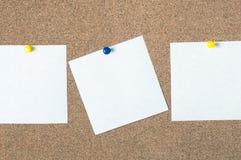 Nota pegajosa do lembrete branco na placa da cortiça, espaço vazio para o texto Foto de Stock Royalty Free