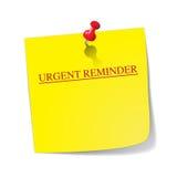 Nota pegajosa do lembrete urgente com Pin Imagens de Stock Royalty Free