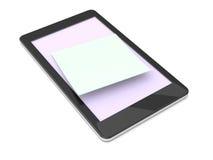 Nota pegajosa sobre la pantalla de un teléfono elegante Imagen de archivo libre de regalías