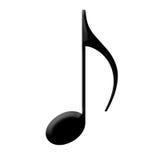 Nota preta da música, isolada Imagens de Stock Royalty Free