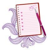 Nota realista rosada con la pluma Vector Foto de archivo