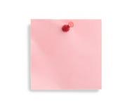 Nota rosada con el contacto rojo Imagen de archivo libre de regalías