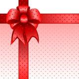 Nota rossa della scheda dell'arco del regalo   Immagini Stock