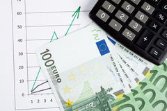 Nota's en een calculator Stock Afbeelding