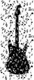 Nota's in gitaar Royalty-vrije Stock Afbeeldingen
