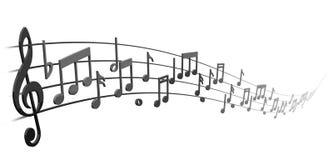 Nota's over het muzikale personeel Stock Afbeelding