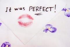 Nota sobre servilleta era perfecta Imagen de archivo libre de regalías