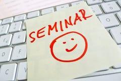 Nota sulla tastiera di computer: seminario Immagine Stock